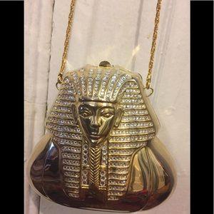 Handbags - King Tut Metal Gold Bag With Rhinestones
